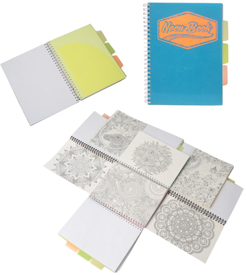 Expert Complete Тетрадь Neon Book 120 листов в клетку цвет синий формат A5 expert complete тетрадь neon concept 96 листов в клетку 2 блока цвет зеленый формат a5 набор наклеек