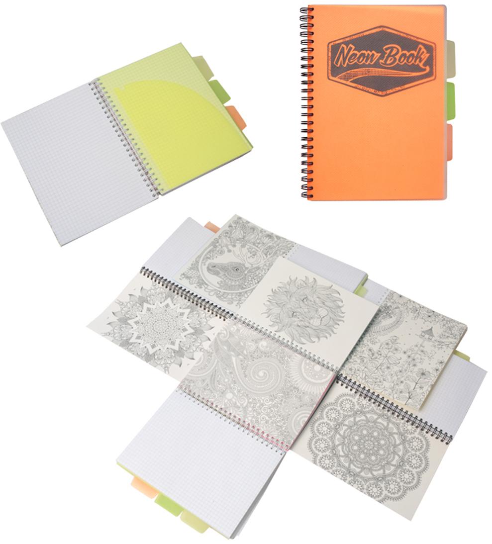 Expert Complete Тетрадь Neon Book 120 листов в клетку цвет оранжевый формат A595127Тетрадь Neon Book подойдет как студенту, так и школьнику старших классов, дизайн тетрадипредставлен в неоновых цветах. Обложка тетради выполнена из прочного пластика, котораязащищает блок от заломов, позволяют писать на весу. Тетрадь дополнена тремя цветнымипластиковыми разделителями с карманами для хранения, что поможет использовать тетрадьдля нескольких предметов одновременно или просто структурировать информацию. Внутреннийблок тетради состоит из 120 листов в клетку, офсетная бумага плотностью 60г/м2. Раскраска- антистресс - на оборотной поможет в развитии творчества и воображения.