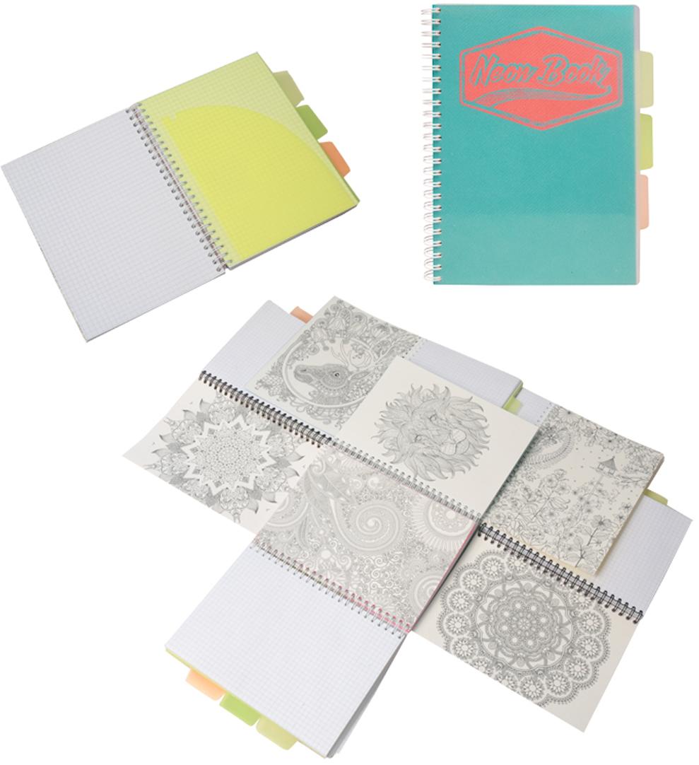 Expert Complete Тетрадь Neon Book 120 листов в клетку цвет бирюзовый формат A595128Тетрадь Neon Book подойдет как студенту, так и школьнику старших классов, дизайн тетрадипредставлен в неоновых цветах. Обложка тетради выполнена из прочного пластика, котораязащищает блок от заломов, позволяют писать на весу. Тетрадь дополнена тремя цветнымипластиковыми разделителями с карманами для хранения, что поможет использовать тетрадьдля нескольких предметов одновременно или просто структурировать информацию. Внутреннийблок тетради состоит из 120 листов в клетку, офсетная бумага плотностью 60г/м2. Раскраска- антистресс - на оборотной поможет в развитии творчества и воображения.