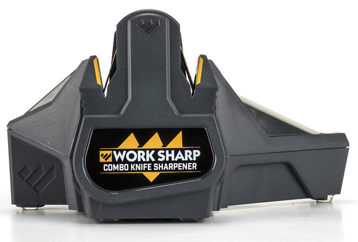 Точилка для ножей Work Sharp Combo, электрическаяDR/WSCMB-IТочилка Combo Knife - это готовое настольное решение для заточки туристических, карманных, кухонных ножей, а также серрейтора. ТочилкаCombo Knife сочетает в себе две технологии: электрическую заточку (с помощью гибких абразивных ремней) и ручную (с помощью керамическойнасадки с направляющими угла заточки). Такое сочетание технологий и характеристик создает быструю, простую в обращении и оченьэффективную точильную систему для любого пользователя. Технология гибких ремней обеспечивает превосходную конвексную режущую кромку.Именно этот тип кромки выбирают профессионалы и изготовители ножей из-за ее способности резать лучше и оставаться острой дольше посравнению с плоским типом.Для точилки Combo Sharpener используются абразивные ремни премиум класса, разработанные для холодной заточки и имеющие повышенныйсрок службы. Абразив специально предназначен для заточки металлических кромок и отлично подойдет для любой ножевой стали безчрезмерного нагрева клинка. В точилке используются направляющие угла заточки, который составляет строго 25°, предназначенные как длязаточки, так и для шлифовки. Инновационный керамический конусообразный стержень сделает любой ваш нож острым как бритва, а такжесеррейтора почти любого размера. Теперь вы с успехом можете затачивать все серрейторные ножи, используя один единственный простойинструмент.