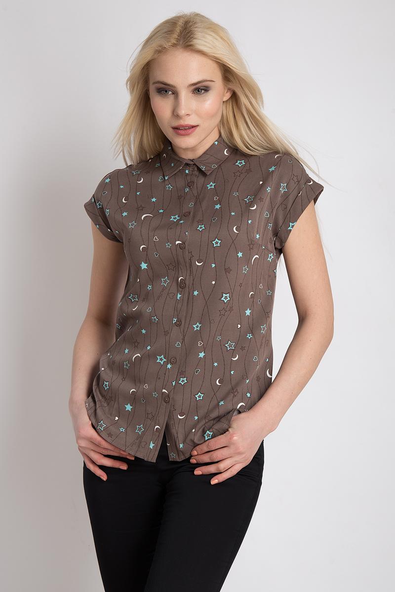 Блузка женская Finn Flare, цвет: светло-коричневый. B18-32057_623. Размер L (48)B18-32057_623Стильная женская блуза Finn Flare, выполненная из 100% вискозы, подчеркнет ваш уникальный стиль и поможет создать оригинальный женственный образ. Блузка с короткими рукавами и отложным воротником оформлена интересным принтом. Спереди изделие застегивается на пуговицы. Такая блузка идеально подойдет для жарких летних дней.Блузка будет дарить вам комфорт в течение всего дня и послужит замечательным дополнением к вашему гардеробу.