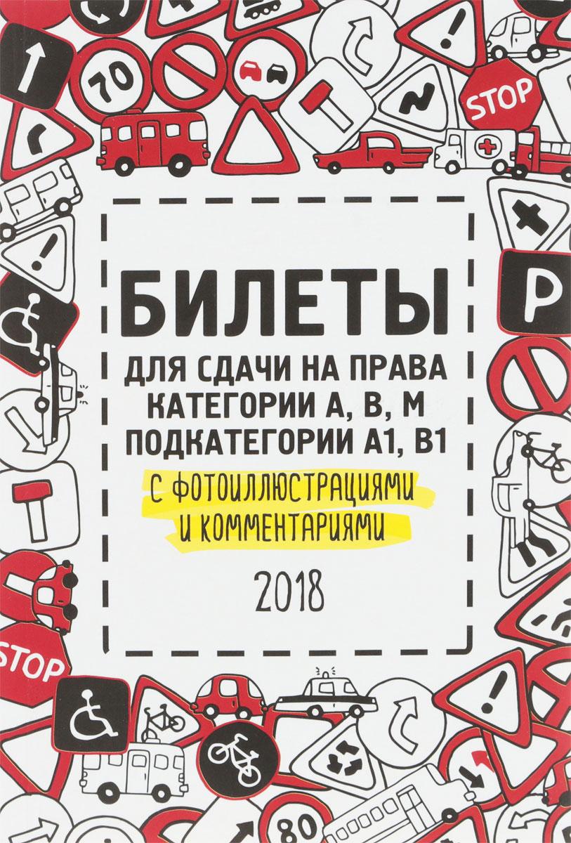 Билеты для сдачи на права категории АВM, подкатегории A1, B1 с фотоиллюстрациями и комментариями на 2018 год