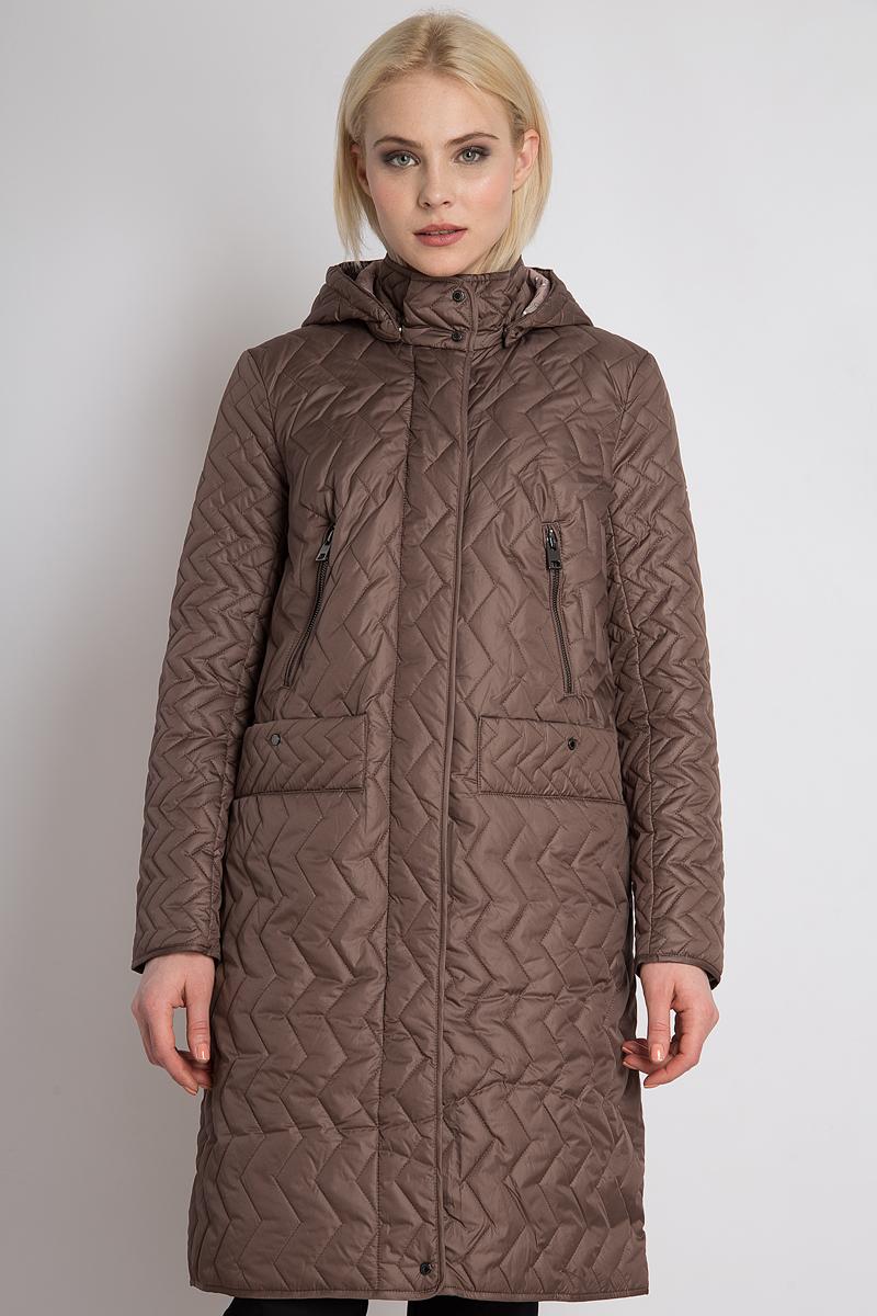 Пальто женское Finn Flare, цвет: коричневый. B18-12003_617. Размер M (46) пальто