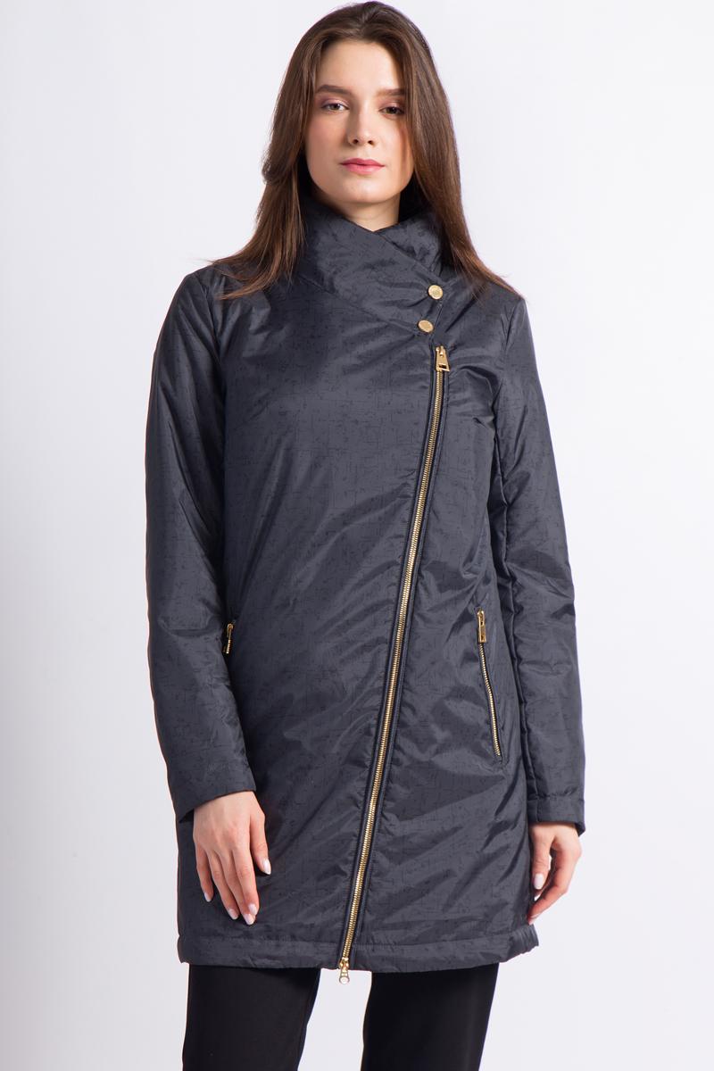 Пальто женское Finn Flare, цвет: темно-серый. B18-12002_202. Размер M (46) кожаное пальто с асимметричной молнией