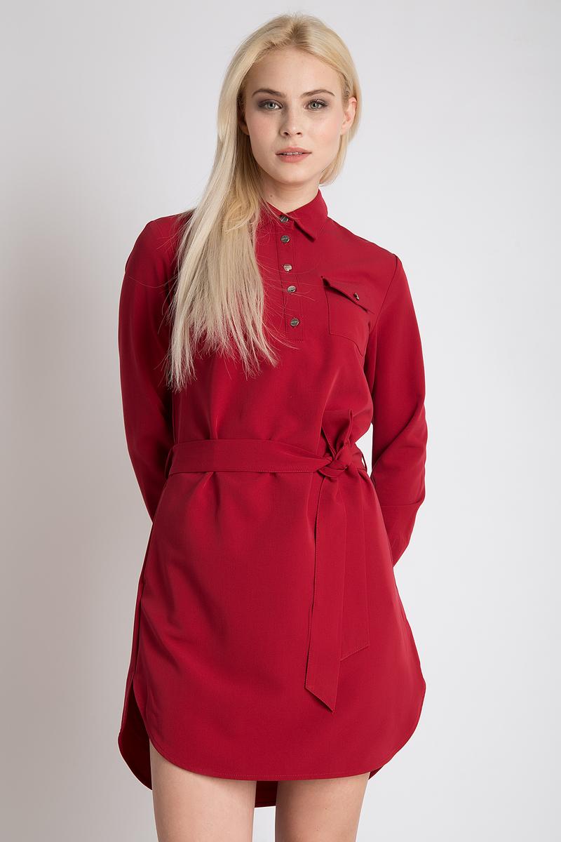 Платье Finn Flare, цвет: гранатовый. B18-11091_303. Размер L (48)B18-11091_303Элегантное платье Finn Flare выполнено из высококачественного материала. Такое платьеобеспечит вам комфорт и удобство при носке и непременно вызовет восхищение у окружающих.Модель средней длины с длинными рукавами и отложным воротником с поясом на талии отлично подчеркнет все достоинства вашей фигуры. Спереди модель дополнена накладными карманами.Это модное и комфортное платье станет превосходным дополнением к вашему гардеробу, оно подарит вам удобство и поможет подчеркнуть ваш вкус и неповторимый стиль.