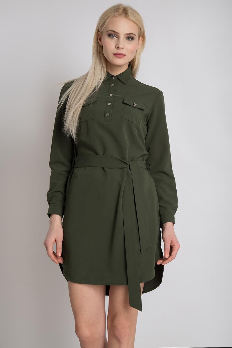 Платье Finn Flare, цвет: темно-зеленый. B18-11091_511. Размер XL (50) платье finn flare цвет темно синий b17 11076 101 размер xl 50