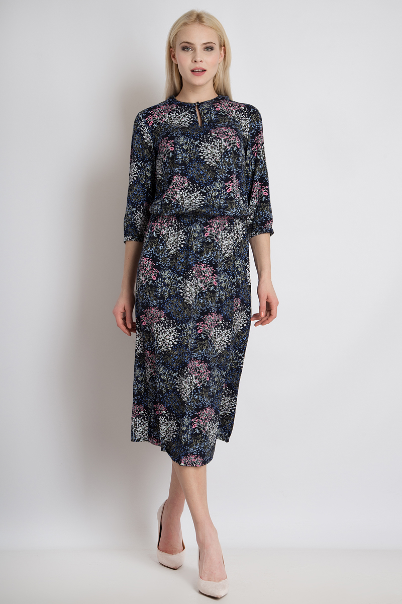 Платье Finn Flare, цвет: темно-синий. B18-12081_101. Размер M (46) платье finn flare цвет темно синий черный b18 11124 размер m 46