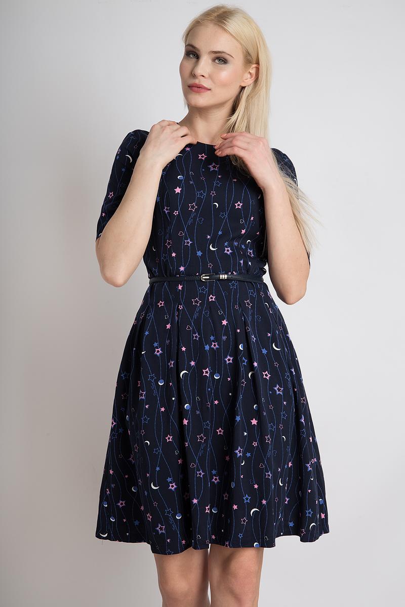 Платье Finn Flare, цвет: темно-синий. B18-32056_101. Размер L (48)B18-32056_101Стильное платье Finn Flare выполнено из 100% вискозы. Такое платье обеспечит вам комфорт и удобство при носке и непременно вызовет восхищение у окружающих. Модель с рукавами 3/4 и круглым вырезом горловины дополнена ремнем на талии, благодаря чему выгодно подчеркнет все достоинства вашей фигуры. Сзади изделие застегивается на скрытую застежку-молнию. Модель оформлена оригинальным принтом. Изысканное платье создаст обворожительный и неповторимый образ. Это модное и комфортное платье станет превосходным дополнением к вашему гардеробу, оно подарит вам удобство и поможет подчеркнуть свой вкус и неповторимый стиль.