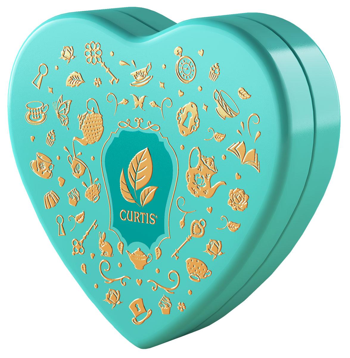 Curtis Wonderland Collection Sweet Heart чай черный ароматизированный, цвет коробки бирюзовый, 40 г baron французские трюфели с кусочками малины 100 г