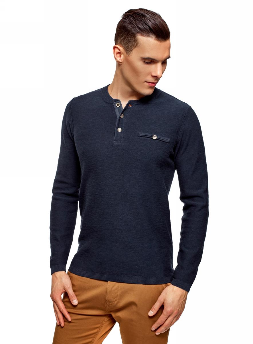 Пуловер мужской oodji Lab, цвет: темно-синий. 4L212161M/47667N/7900N. Размер XL (56) кардиган мужской oodji lab цвет темно синий 4l612128m 21654n 7900n размер xl 56