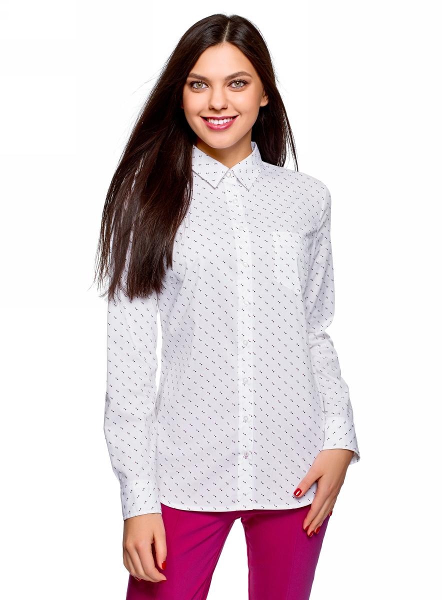 Рубашка женская oodji Ultra, цвет: белый. 13K03007B/26357/1029G. Размер 40 (46-170)13K03007B/26357/1029GРубашка от oodji выполнена из эластичного хлопка. Модель с длинными рукавами и отложным воротником застегивается на пуговицы, на груди дополнена накладным кармашком.