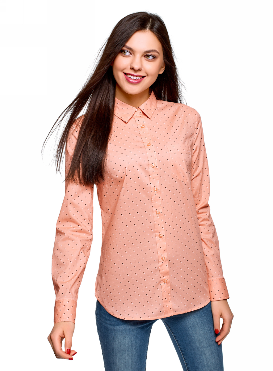 Рубашка женская oodji Ultra, цвет: розовый, черный. 13K03007B/26357/5429O. Размер 42 (48-170)13K03007B/26357/5429OРубашка от oodji выполнена из эластичного хлопка. Модель с длинными рукавами и отложным воротником застегивается на пуговицы, на груди дополнена накладным кармашком.