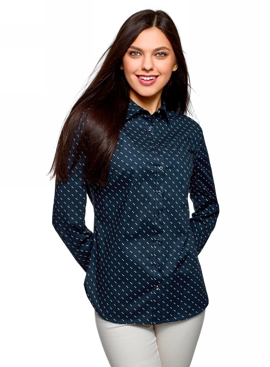 Рубашка женская oodji Ultra, цвет: темно-синий, розовый. 13K03007B/26357/7940O. Размер 34 (40-170) рубашка thalassa цвет розовый синий