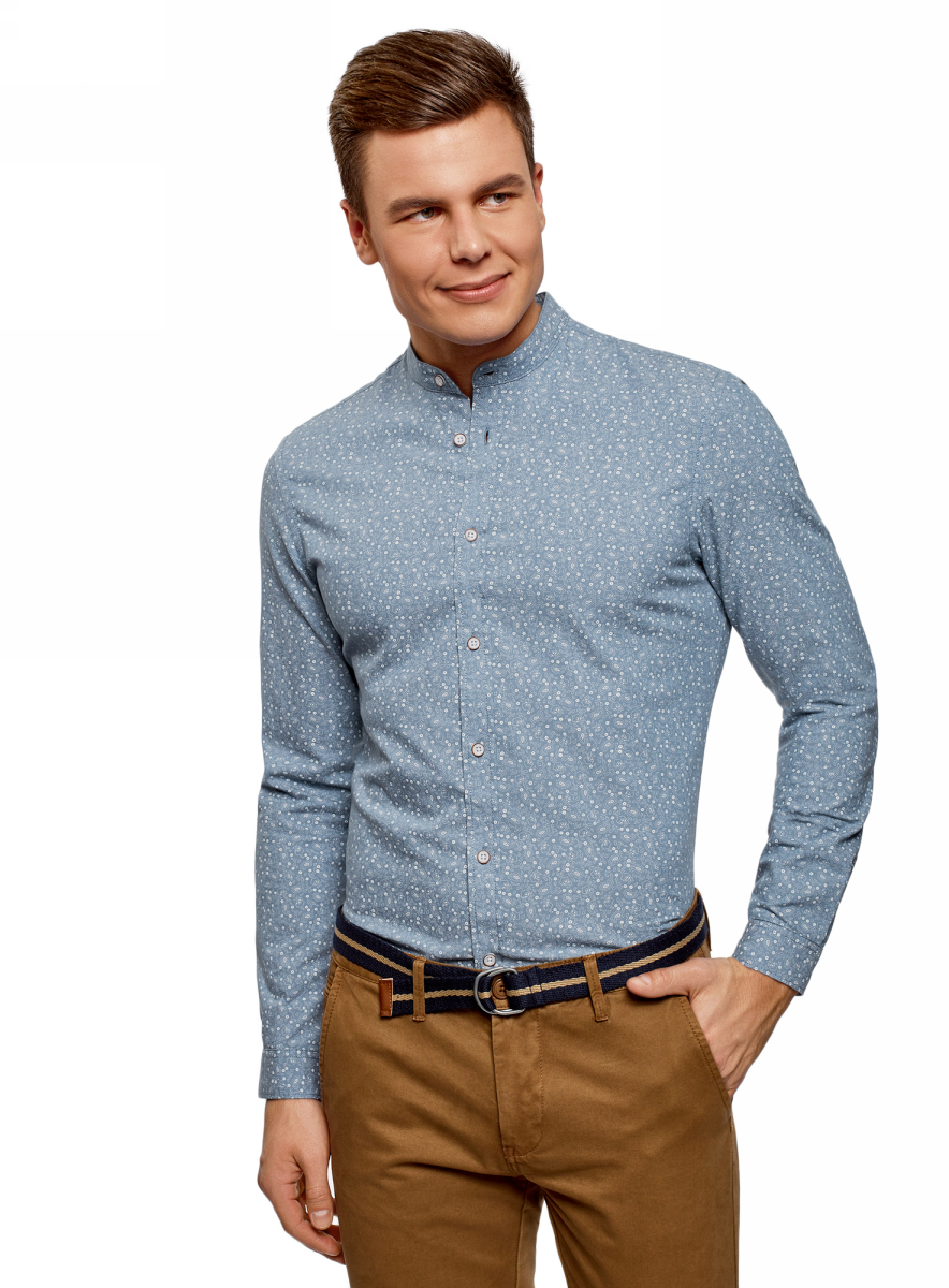Рубашка мужская oodji Lab, цвет: голубой, белый. 3L310161M/47727N/7010F. Размер L (52/54-182)3L310161M/47727N/7010FРубашка от oodji выполнена из натурального хлопка. Модель приталенного кроя с длинными рукавами и воротником-стойкой застегивается на пуговицы. Рукава дополнены манжетами на пуговицах.