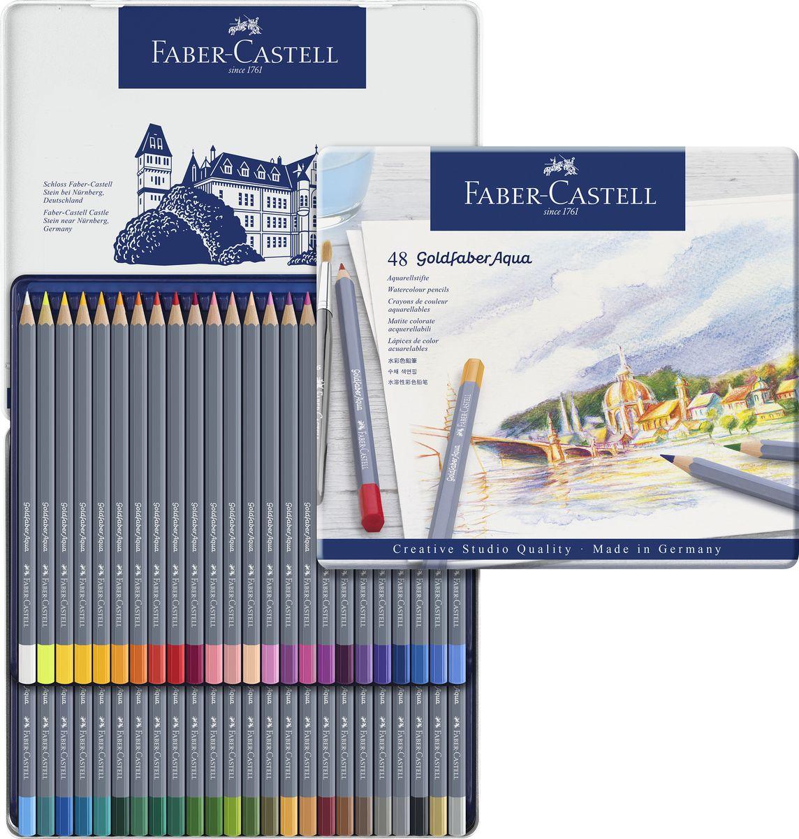 Faber-Castell Набор цветных акварельных карандашей Goldfaber Aqua 48 цветов114648Акварельные карандашиGoldfaberAquaотFaber-Castellподойдут как для любителей, так и для профессионалов. Утолщенный грифель (3,3 мм) не только увеличивает срок службы карандаша, но и позволяет закрашивать большие пространства. Грифель насыщен яркими пигментами и полностью размывается водой. Ключевой особенностью карандашейFaber-Castell является мягкий грифель, который не царапает поверхность бумаги, а ложится плавным слоем, создавая все необходимые условия дляэкспериментовсо смешением оттенков. Это позволяет создавать полные жизни и красок рисунки. Карандаши обладают высоким уровнем светостойкости и не выцветают на солнце или под искусственным освещением. Упаковка: металлическая коробка, 48 шт. Сделано в Германии.