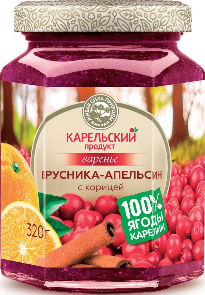 Карельский продукт Варенье из брусники и апельсина с корицей, 320 г линия здоровья варенье клюквенное 360 г
