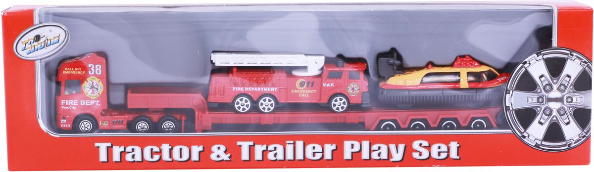 Pioneer Toys Набор пожарной техники на трейлере pioneer toys набор машин фура