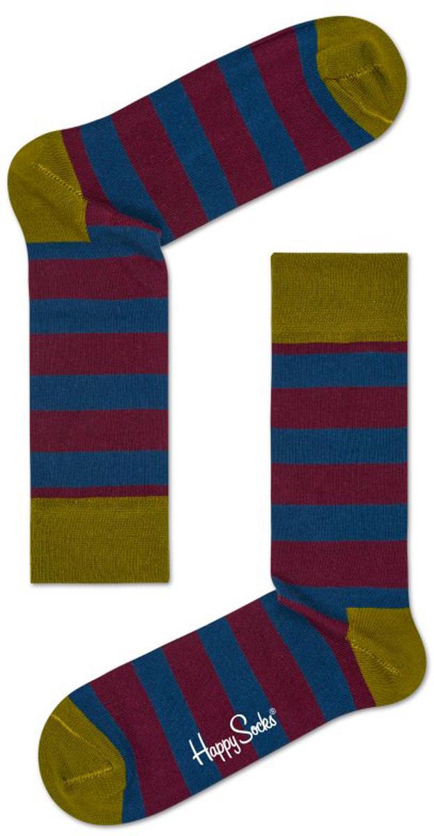 Носки Happy Socks Stripe, цвет: бордовый, синий, горчичный. STR01_4001. Размер 29 (41/46)