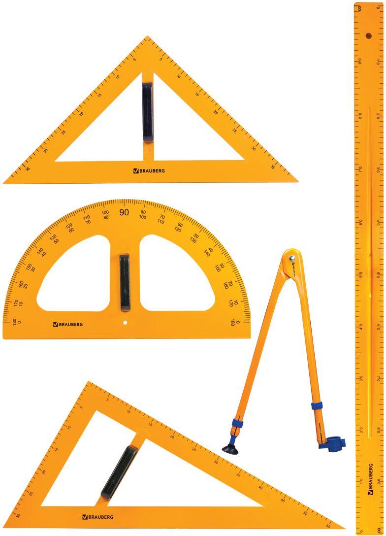 Brauberg Геометрический набор цвет белый 5 предметов210383Набор чертежный BRAUBERG предназначен для выполнения чертежных работ на классной доске.
