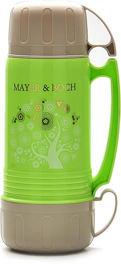 Термос Mayer & Boch, с 2 чашками, цвет: зеленый, серый, 1 л22601Термос Mayer & Boch с цветным пластиковым корпусом и стеклянной внутренней колбой, является самым востребованным среди покупателей. По своим теплообменным характеристикам термос со стеклянной колбой не уступает термосам со стальными колбами, но благодаря свойствам стекла, в него можно наливать напитки с сильными, устойчивыми ароматами. Термос оснащен большой удобной ручкой и 2-мя пластиковыми кружками. Завинчивающаяся герметичная крышка предохраняет от проливаний. Термос способен сохранять необходимую температуру до 24-х часов. Легко и просто моется. Термос Mayer & Boch пригодится в любой ситуации: будь то поход, поездка или просто чаепитие.