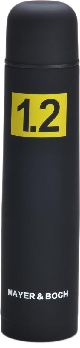 Термос Mayer & Boch, цвет: черный, 1,2 л27606Термос Mayer & Boch выполнен из качественной нержавеющей стали, которая не вступает в реакцию с содержимым термоса и не изменяет вкусовых качеств напитка. Двойная стенка из нержавеющей стали сохраняет температуру на срок до 24-х часов. Вакуумный закручивающийся клапан предохраняет от проливаний, а удобная кнопка-дозатор избавит от необходимости каждый раз откручивать крышку. Крышку можно использовать как чашку. Цветное покрытие обеспечивает защиту от истирания корпуса. Данная модель термоса прочная, долговечная и в то же время легкая. Стильный металлический термос понравится абсолютно всем и впишется в любой интерьер кухни. Легко и просто моется.
