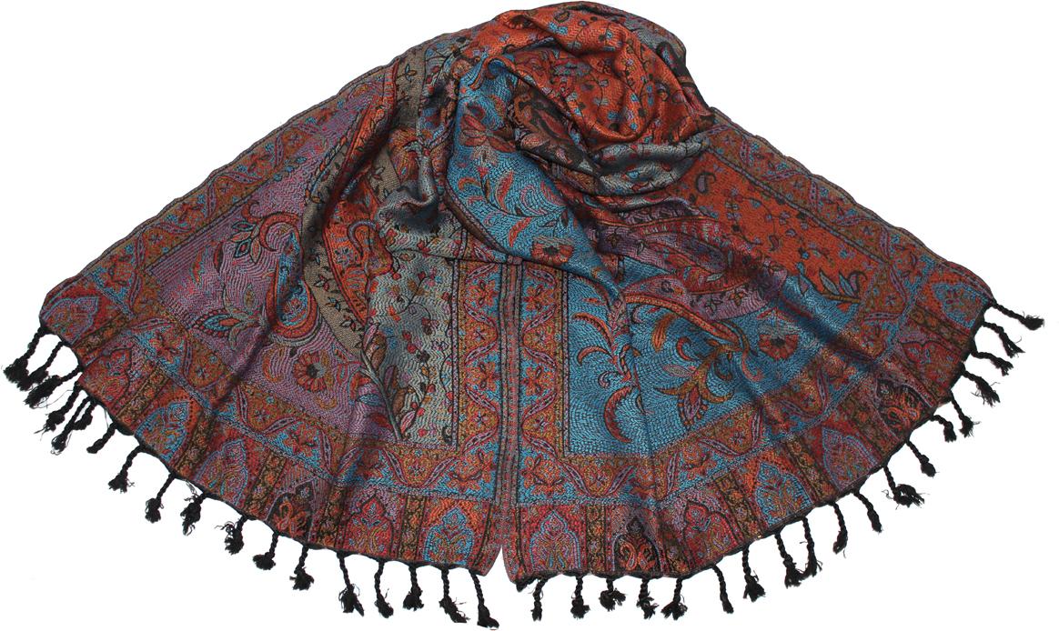 Палантин Ethnica, цвет: бирюзовый, оранжевый. 662075н. Размер 70 см x 180 см