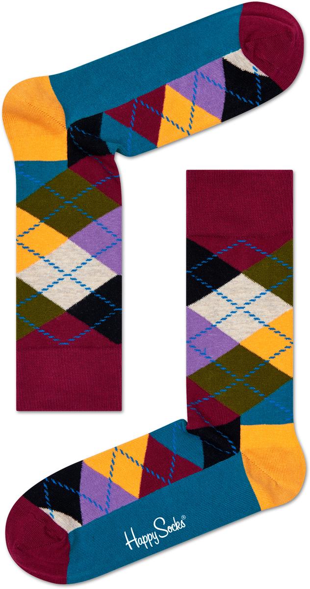 Носки Happy Socks Argyle, цвет: бордовый, голубой, желтый. AR01_48. Размер 29 (41/46)AR01_48Оригинальные яркие носки Happy Socks с орнаментом выполнены из мягкого хлопка с добавлением полиамида и эластана. Носки с удлиненным паголенком. Комфортная резинка не сдавливает и комфортно облегает ногу. Укрепленная пятка и носок делают их прочными, приятными и износостойкими.Идеальное сочетание практичности, легкости и комфорта.