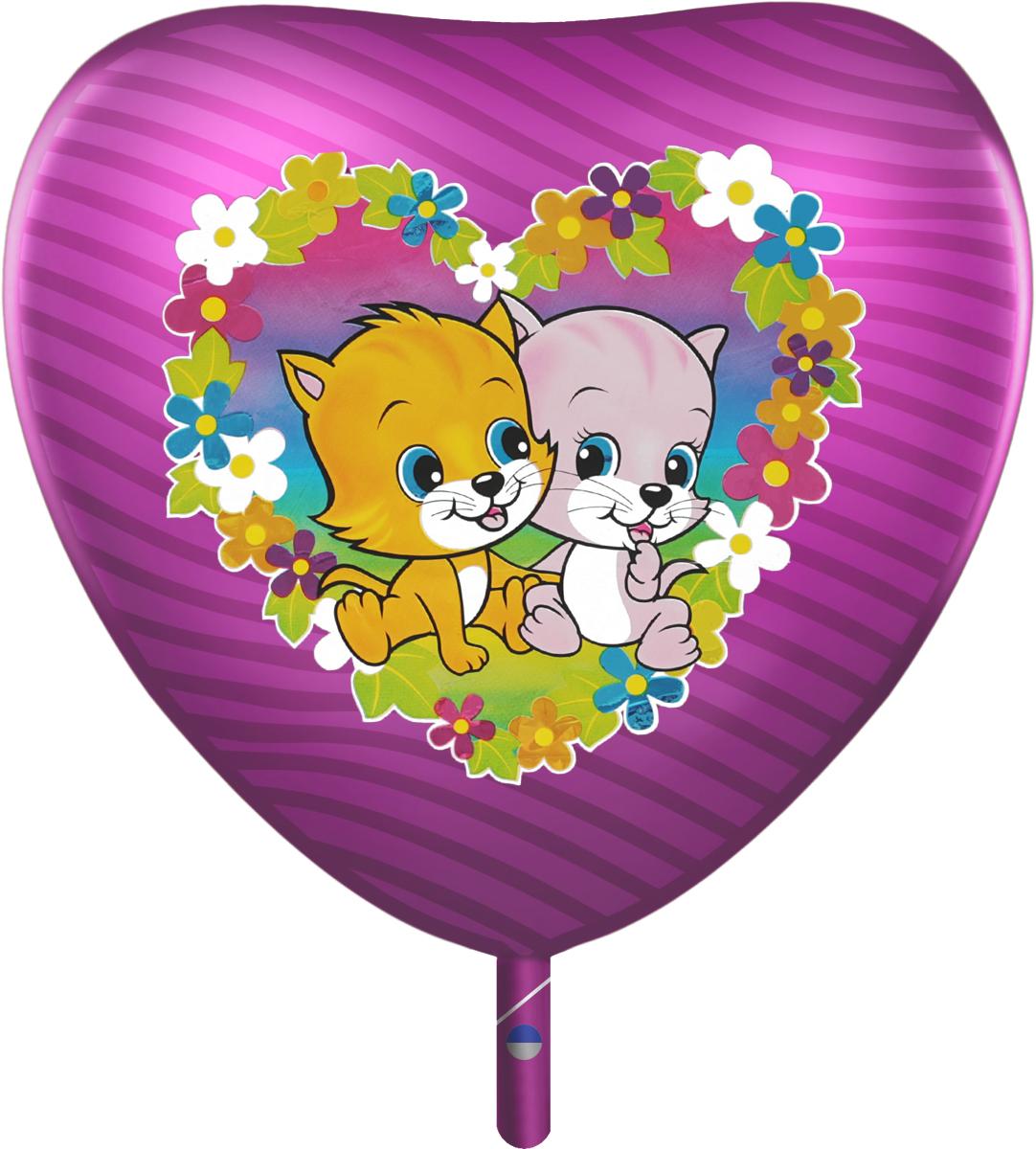 Флексметал Шарик воздушный Котята в цветах цвет малиновый серые котята в челябинске
