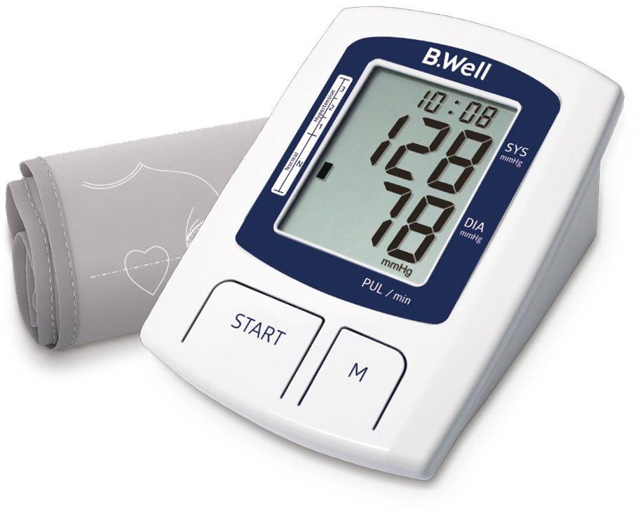 B.Well Swiss Прибор для измерения давления и пульса А-237640156395341Тонометр автоматический с адаптером B.Well A-23 Индикатор аритмии – раннее выявление нарушений сердечного ритма Рассчитает среднее значение последних трех измерений Память для двух пользователей по 60 измерений Прибор показывает текущие дату и время Шкала уровня артериального давления Увеличенная манжета 22-36 см