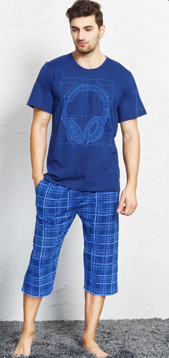Комплект домашний мужской Vienetta's Secret Наушники, цвет: темно-синий. 707017 4203. Размер XL (50) givenchy g42 4203 g42 4203