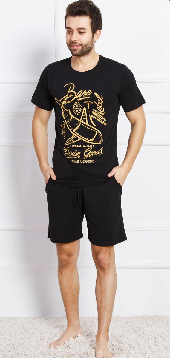 Комплект домашний мужской Vienettas Secret Акула, цвет: черный. 709128 0000. Размер L (48)709128 0000Футболка, шорты