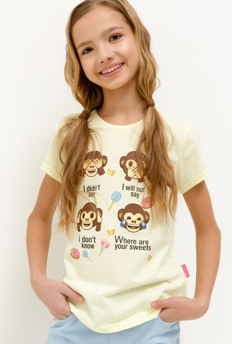 Футболка для девочки Acoola Anna, цвет: желтый. 20220110116_1200. Размер 122 футболка acoola acoola ac008egsdy35
