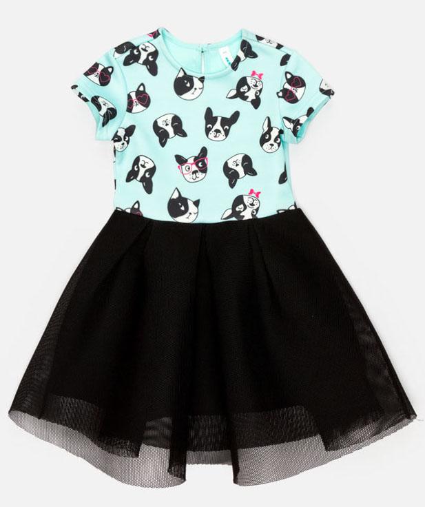 Платье для девочки Acoola Meda, цвет: бирюзовый, черный. 20220200234_9000. Размер 98 платье overmoon by acoola overmoon by acoola ov003eguci55