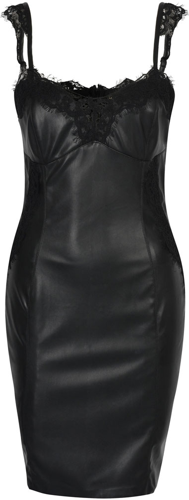 Платье Love Republic, цвет: черный. 8152123503. Размер 408152123503Элегантное платье от Love Republic выполнено из искусственной кожи. Модель облегающего кроя на бретелях на спинке застегивается на потайную молнию.