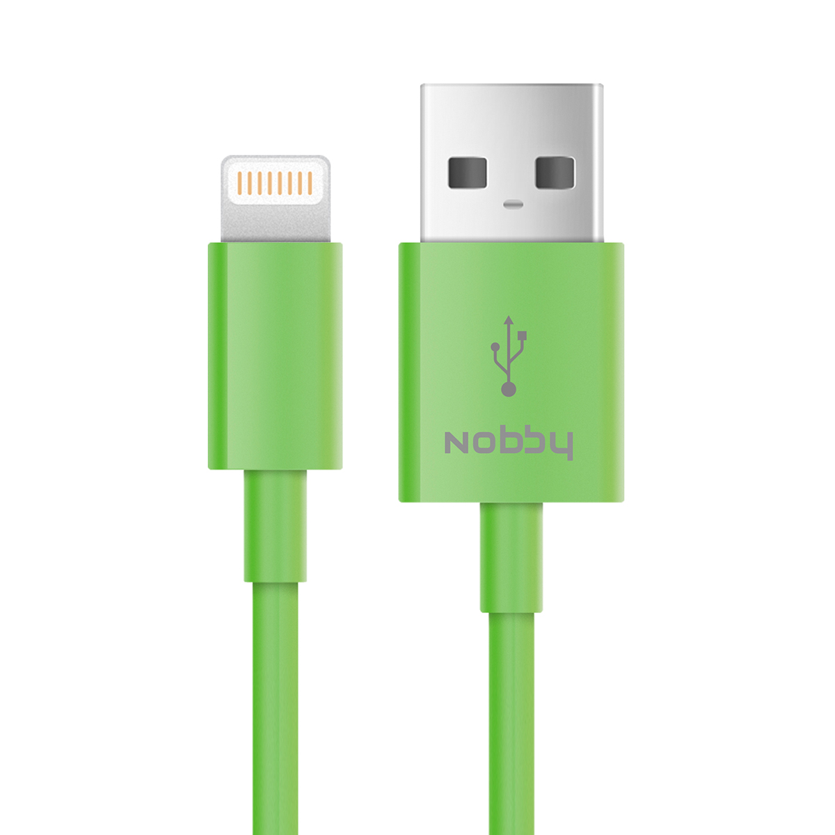 Nobby Connect DT-005, Green кабель USB-Lightning (1 м)7726USB-s8pin; ток макс. нагрузки 2.1А; раб. напряжение 4.8-5.5 Вт; стандарт USB 2.0;скорость передачи данных до 480 Мбит/сек; 1м; PVC; 22г.
