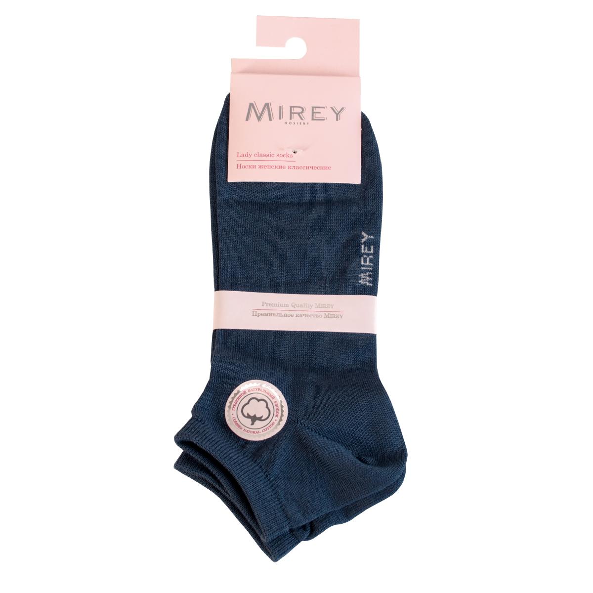 Носки женские Mirey, цвет: синий. MSC 009. Размер (35/37)MSC 009Короткие женские носки от Mirey выполнены из мерсеризованного хлопка.Усиленный мысок и пятка, двойная резинка, плоский шов.
