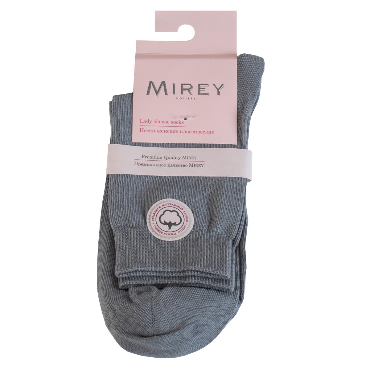 Носки женские Mirey, цвет: светло-серый. MSC 007. Размер (38/40)MSC 007Классические женские носки от Mirey выполнены из хлопка с эластаном.Усиленный мысок и пятка, двойная резинка сетка, плоский шов.