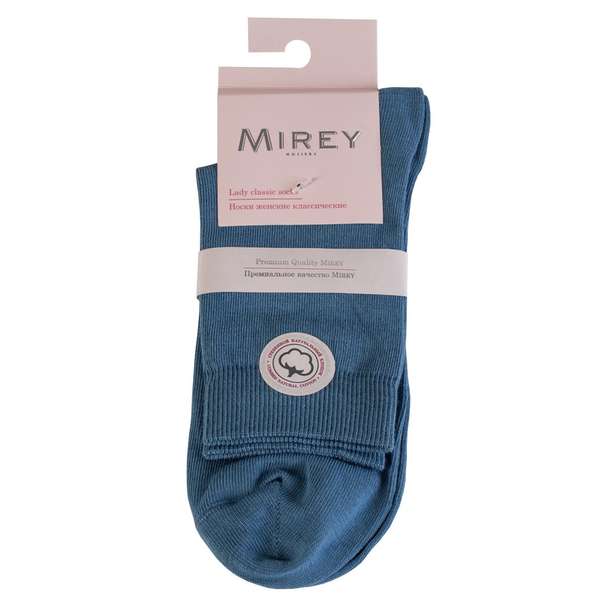 Носки женские Mirey, цвет: синий. MSC 007. Размер (38/40)MSC 007Классические женские носки от Mirey выполнены из хлопка с эластаном.Усиленный мысок и пятка, двойная резинка сетка, плоский шов.