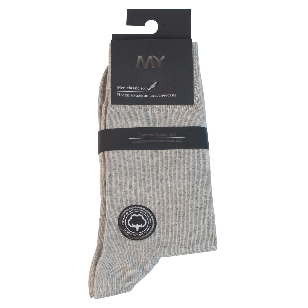 Носки мужские Mirey, цвет: светло-серый. MSC 003. Размер (38/40)MSC 003Классические мужские носки от Mirey выполнены из хлопка с эластаном.Мысок и пятка не усиленные, двойная резинка, плоский шов.