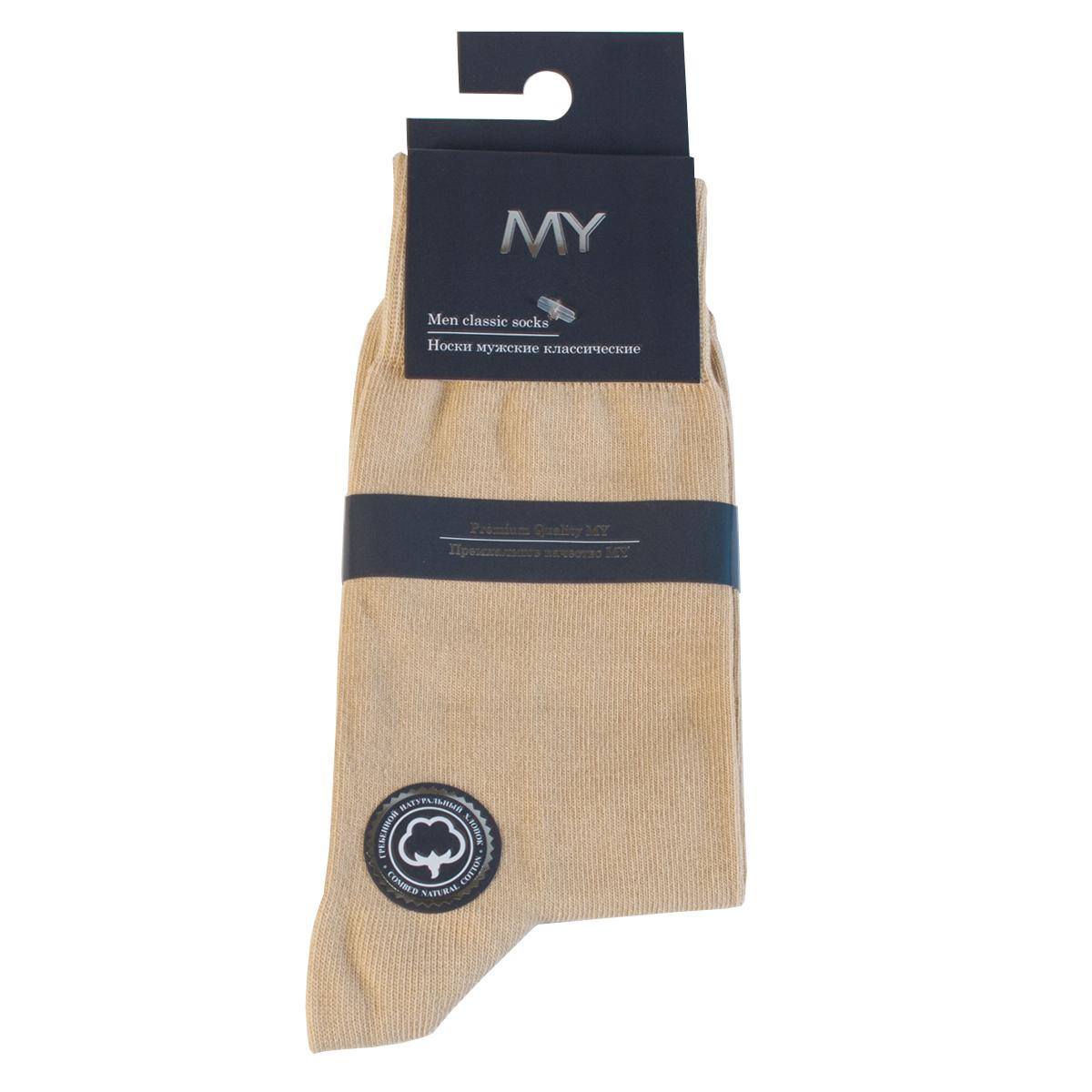 Носки мужские Mirey, цвет: бежевый. MSC 003. Размер (38/40)MSC 003Классические мужские носки от Mirey выполнены из хлопка с эластаном.Мысок и пятка не усиленные, двойная резинка, плоский шов.