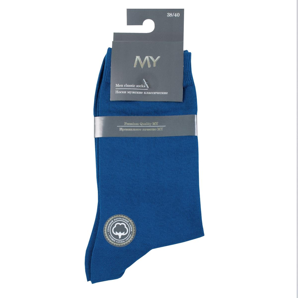 Носки мужские Mirey, цвет: темно-синий. MSC 003. Размер (44/46)MSC 003Классические мужские носки от Mirey выполнены из хлопка с эластаном.Мысок и пятка не усиленные, двойная резинка, плоский шов.