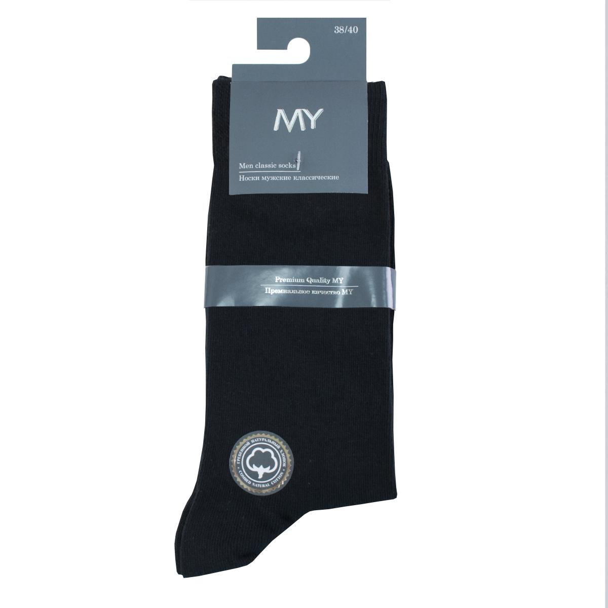 Носки мужские Mirey, цвет: черный. MSC 001. Размер (38/40)MSC 001Классические плотные мужские носки от Mirey выполнены из хлопка с эластаном. Усиленный мысок и пятка, двойная структурная резинка, плоский шов.