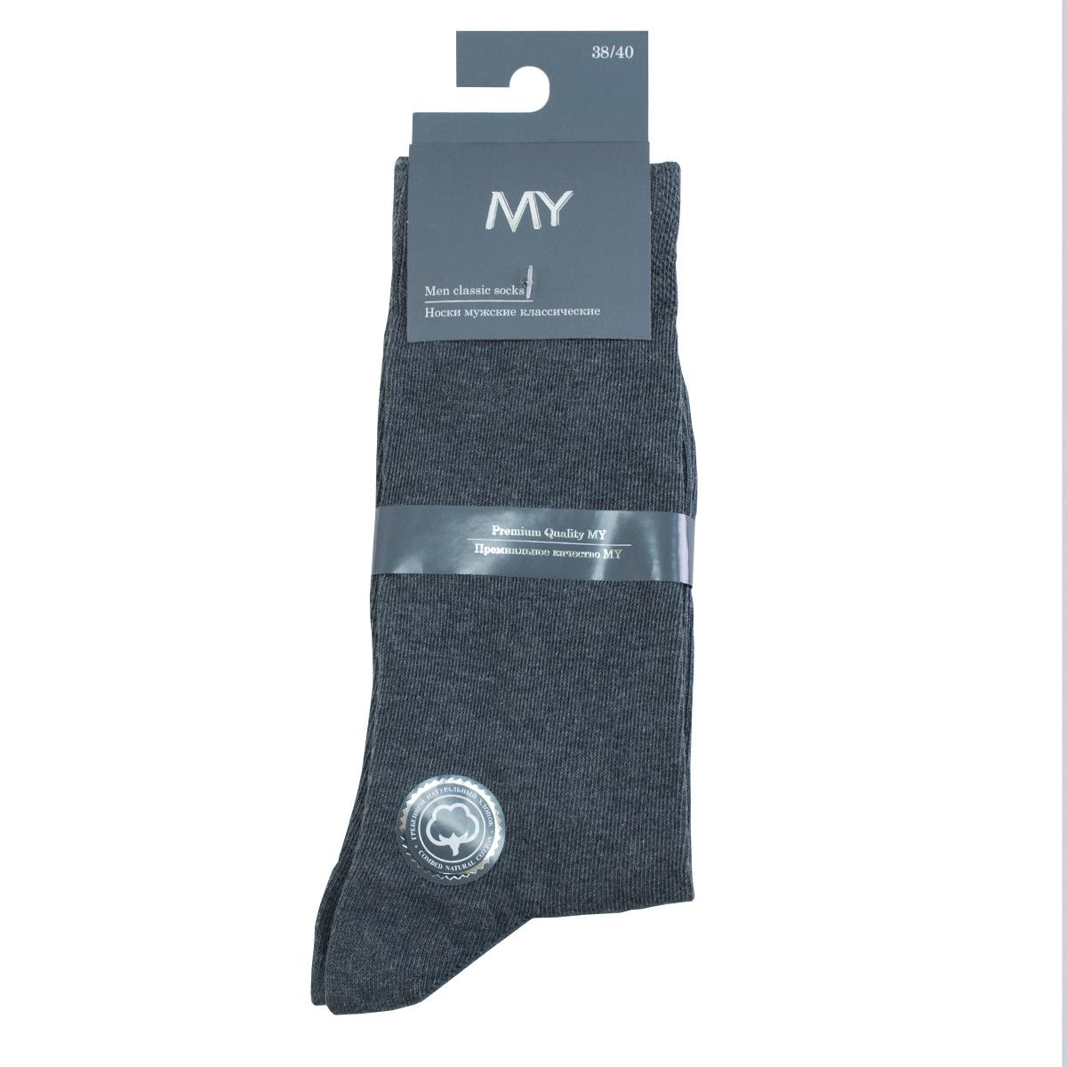 Носки мужские Mirey, цвет: темно-серый. MSC 001. Размер (41/43)MSC 001Классические плотные мужские носки от Mirey выполнены из хлопка с эластаном. Усиленный мысок и пятка, двойная структурная резинка, плоский шов.