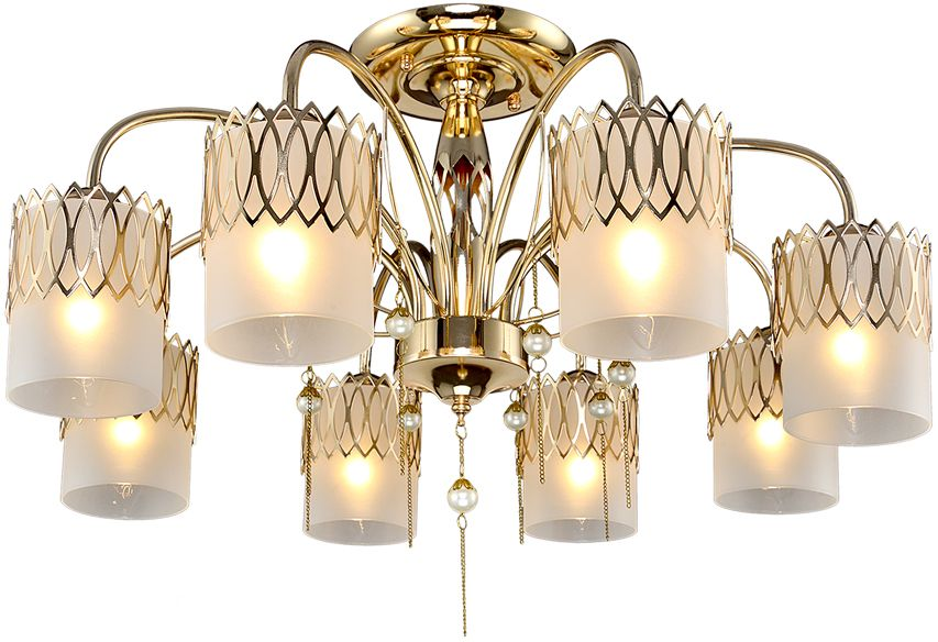 Люстра Максисвет Классика, 8 х E14, 60W. 1-3938-8-FG E141-3938-8-FG E14Новая серия потолочных светильников 3938 в коллекции Классика представлена 3, 5, 8-рожковой люстрами и бра:- каркас светильников выполнен в цвете французского золота и украшен жемчужными подвесками на золотых цепочках.- стеклянные плафоны из матового стекла обрамлены по периметру металлическими орнаментами-направленные вниз плафоны позволяют максимально осветить помещение.