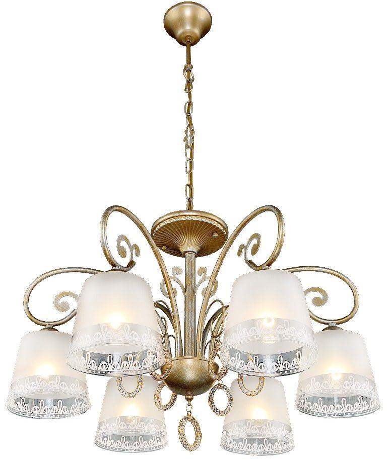 Люстра Максисвет Классика, 6 х E27, 40W. 2-4285-6-GLYN Е272-4285-6-GLYN Е27Роскошная серия Классики 4285 подойдет для гостиных и холлов:- серия представлена люстрами на 6 и 8 ламп, а также одиночным бра и настольной лампой.- на люстрах солидного диаметра по периметру расположены матовые стеклянные плафоны с узорчатой окантовкой и элегантные подвески с фианитами.- покрытие каркаса выполнено в золотом цвете с серебристой патиной.