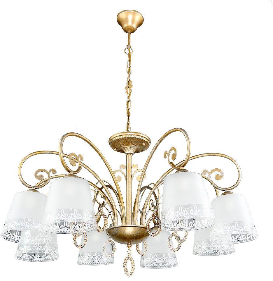 Люстра Максисвет Классика, 8 х E27, 40W. 2-4285-8-GLYN Е272-4285-8-GLYN Е27Роскошная серия Классики 4285 подойдет для гостиных и холлов:- серия представлена люстрами на 6 и 8 ламп, а также одиночным бра и настольной лампой.- на люстрах солидного диаметра по периметру расположены матовые стеклянные плафоны с узорчатой окантовкой и элегантные подвески с фианитами.- покрытие каркаса выполнено в золотом цвете с серебристой патиной.