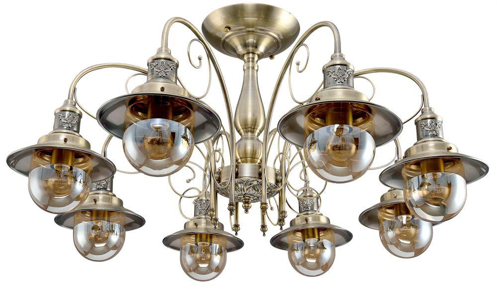 Люстра Максисвет Ковка, 8 х E27, 60W. 1-4400-8-AB E271-4400-8-AB E27Новая серия коллекции Ковка идеально подойдет для оформления загородных домов.Благодаря своим тонким и витиеватым линиям, металлический каркас светильников кажется легким и воздушным, сохраняя при этом общую брутальность композиции.Крупные стеклянные плафоны из тонированного стекла обеспечивают максимальную освещенность в помещении.Серия 4400 представлена композицией светильников – бра, одиночный подвес, потолочные люстры на 3,5 и 8 ламп. Серия представлена в цвете античной бронзы.
