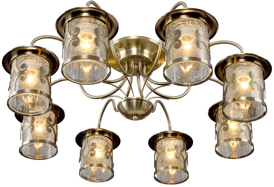 Люстра Максисвет Ковка, 8 х E27, 60W. 1-4610-8-AB E271-4610-8-AB E27Кованые элементы в интерьере квартиры применяются с давних времен, и с тех самых времен они характеризуются изысканностью и утончённостью. Оригинальные светильники коллекции Ковка» подчеркивают общую стилистику интерьера.Несмотря на то, что изделия выполнены из металла, они не отягощают пространство,а наоборот, придают легкость всему помещению. Кованая мебель и предметы интерьера с художественной ковкой очень активно используютсяпри оформлении загородных домов. Воздушные люстры с кружевом из металла одинаковохороши и в уютных кафе, и в городских квартирах.Широкий модельный ряд «Максисвет» позволяет подобрать люстру под конкретный интерьер –от романтичного прованса до тяжелого замкового стиля. Для законченности интерьера люструможно дополнить бра, торшером или настольной лампой той же серии.