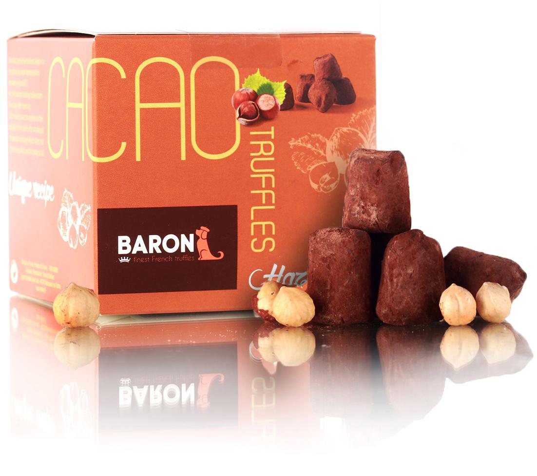 Baron Французские трюфели с дробленым фундуком, 150 г baron ecuador конфеты из темного шоколада с кофейной начинкой 100 г
