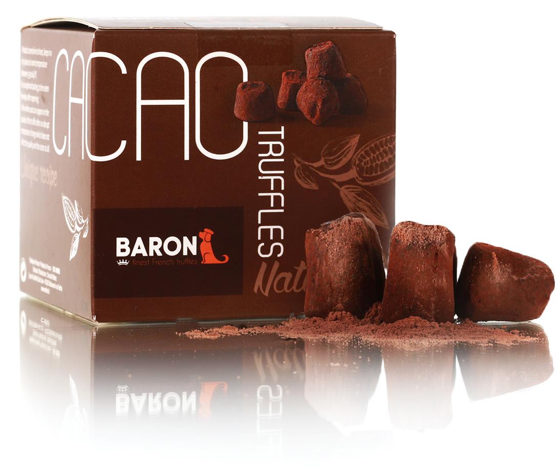 Baron Французские трюфели классические, 150 г7.20.04/1Трюфели обладают насыщенным ароматом натуральных какао-бобов. Легко тающие трюфели имеют чистый и гладкий горьковато-сладкий вкус классического темного шоколада. Конфеты гармонично сочетаются с чаем, кофе, бренди, коньяком, портвейном и красным вином.